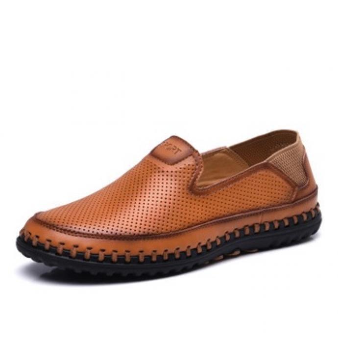 Giày da lười thoáng khí đế khâu vr50